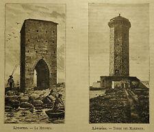 1891= LIVORNO, LA MELORIA - TORRE DEL MARZOCCO = TOSCANA.Xilo+Passepartout..Etna
