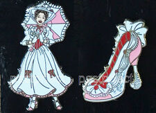 Disney 2 Pin Set MARY POPPINS & SHOE Red & White Dress Umbrella WDW Authentic