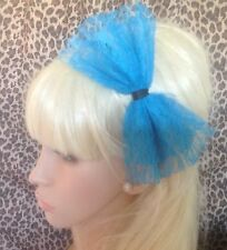 BIG TURQUOISE BLUE LACE BOW ALICE HAIR HEAD BAND 80s RETRO PARTY FANCY DRESS