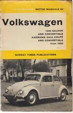 VW BEETLE 1200 & KARMANN GHIA 1200 SALOON COUPE CABRIOLET 1960-1965 REPAIR BOOK