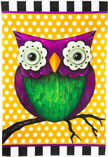 "NEW LARGE EVERGREEN FLAG COLORFUL WHIMSY OWL 29"" X 43"" - SUCH A CUTE FLAG!"