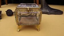 Antique ORMOLU BEVELED GLASS JEWELRY TRINKET BOX CASKET french art deco nouveau