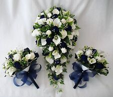 BRIDES BOUQUET AND 2 POSIES, CALA LILIES, NAVY ROSES, ARTIFICIAL WEDDING FLOWERS