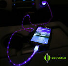 Red Cable w/ Blue Glow Car Charger - Micro USB Cell Phone Fast LED Light Up Glo