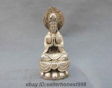 Chinese Buddhism GuanYin Kwan-Yin Tibet White Copper Silver Bodhisattva Statue