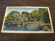 VINTAGE - THE LAKE IN THE PUBLIC GARDENS - BOSTON MASS - USED POSTCARD - 1944