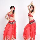 3PCS Belly Dance Costume Halter ABC CUP Butterfly Fancy Bra Top Hip Scarf Skirt