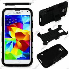 Coque Housse Etui Anti Choc Armor Outdoor Bequille Noir Galaxy S5 G900F +Stylet