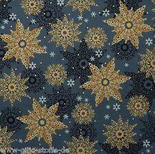 Celebrate Schneeflocken Grau Patchwork Sterne Stoff Weihnachtsstoff 25cmx110cm