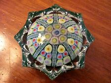 STRATHERN SCOTLAND GLASS CONCENTRIC MILLEFIORI SCALLOPED GLASS PAPERWEIGHT MINT