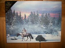 """New """"Cowboy Christmas"""" Radiance Lighted Canvas Picture Wall Decor 12"""" x 16"""""""