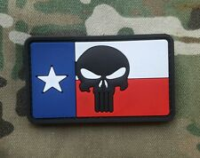 Texas Flag Punisher Skull Morale Patch PVC Rubber TX Pride
