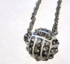 New Rhinestone Half Ball Volleyball Crystal Necklace - Us Seller