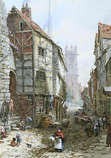 PRINT FROM AN OLD PAINTING  BY LOUISE RAYNER, FISH STREET SHREWSBURY