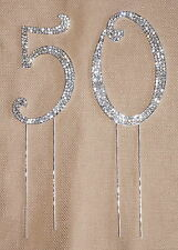 CRYSTAL RHINESTONE 50th ANNIVERSARY CAKE TOPPER TABLE NUMBER DECORATION BLING