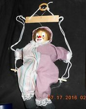 MARIONETTE  CERAMIC CLOWN STRING PUPPET DOLL CLOWN ON A SWING
