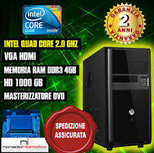 PC DESKTOP COMPUTER FISSO INTEL QUAD CORE 2.0GHZ RAM4GB/HD1000GB/DVD/HDMICOMPLET