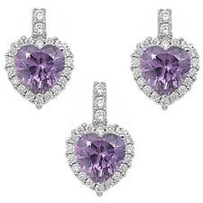 NEW AMETHYST & CZ HEART .925 Sterling Silver Earring & Pendant Gift Set