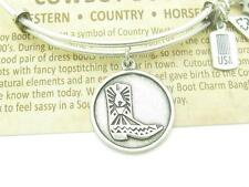 Authentic Wind & Fire Cowboy Boot Charm Wire Bangle Bracelet Made In The USA