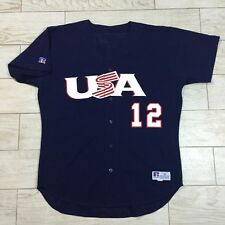 Brad Wilkerson #12 2000 Sydney Olympics USA Authentic Gold Metal Game Jersey 48