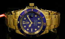 NEW Legend Deep Blue Men's 200M Miyota Blue Dial Gold Plated S.S Bracelet Watch