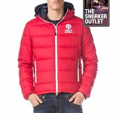 Mens Franklin Marshall UK MEDIUM Goose Down Chicago Puffer Jacket Red Coat Hood