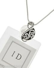 Swirl Charm ID Badge Tag Key Holder Necklace Silver Chain Lanyard