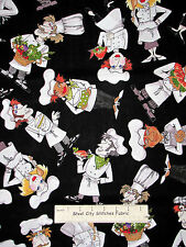 Loralie Chef Fabric - What's Cookin Loralie Harris Man Woman Cook Kitchen - Yard