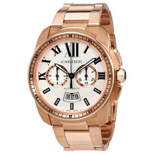Cartier Calibre de Cartier Automatic Silver Dial 18kt Pink Gold Mens Watch