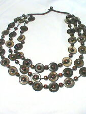 Three Strand Wood Bead Necklace