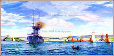 POSTER PRINT: RMS Titanic Painting: Plymouth Harbor: Norman (Rodney) Wilkinson
