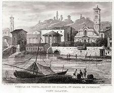 ROMA: Basílica Santa Maria en Cosmedin,Puente Palatine. acero. Antica.1838