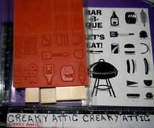 STAMPIN UP BARBQUE BARBECUE FUN 12 RUBBER STAMPS GRILL HAMBURGERS HOT DOGS FOOD