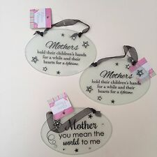 NEW 3 Clear Oval Glass Plaque Mother's Day Rhinestones Home Decor Lot Love Cute