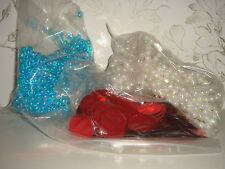 Job Lot Beads Purchased at Selfridges Pearly White Shiny Blue Large Red Sequins