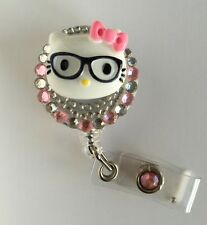 "Bling Hello Kitty 26mm/ 1"" Retractable Reel ID Badge Holder_pink Bow 1pc"