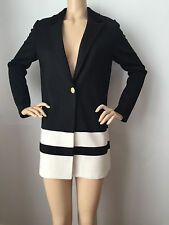 NEW ST JOHN KNIT SZ 12 JACKET BLACK CAVIAR  WHITE CREAM MILANO KNIT WOOL RAYON