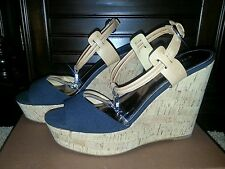 NIB COACH SHOES LINDEN CANVAS WEDGES SANDAL PLATFORM LEATHER BLACK GINGER 10