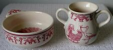 Royal Goedewaagen Delft Porcelain Nursery Porringer and Handled Cup ~ White Red