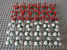 Lego Minifig Mixed Lot Of Red & White Flowers w/Stems Foliage Ground Cover Plant