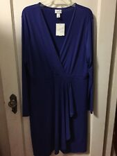 NWT Jaclyn Smith Jersey Knit XXL Blue Evening Cocktail Dress Mock Wrap