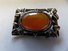Sterling silver arts and crafts carnelian cabochon antique brooch KIV