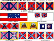 TOY -Miniature SOLDIER C.S.A.  FLAG SHEETS - 21 FLAGS -  (54mm Size) - NEW