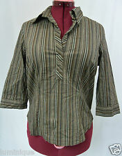 **TARGET** V Neck Collared Stripe Brown 3/4 Sleeves Top 16 XL Work Office SLip