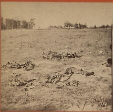 ANTIQUE PHOTO CIVIL WAR BATTLEFIELD CARNAGE. STEREOVIEW.