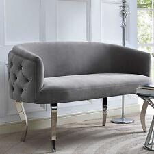 Horchow Haute House Style Glam Regency Curved Gray Velvet Sofa Settee Loveseat