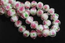 8pcs White/Green Faceted Glass Crystal Rose Flower Inside Beads 12mm