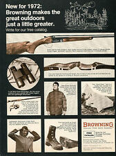1972 Print Ad of Browning B-SS Side-By-Side Shotgun & Hunting Clothes