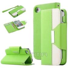 iPhone 4 4S PU Leather Flip Credit Card Wallet Stand Case Cover - Lime Green