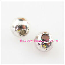 35Pcs Tibetan Silver Round Ball Smooth Spacer Beads Charms 6mm